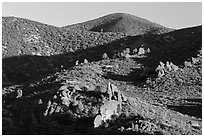 Rolling Gabilan Mountains with rocks and chaparral. Pinnacles National Park ( black and white)
