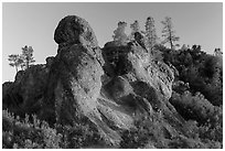 Rock monoliths on top of ridge at sunset. Pinnacles National Park, California, USA. (black and white)