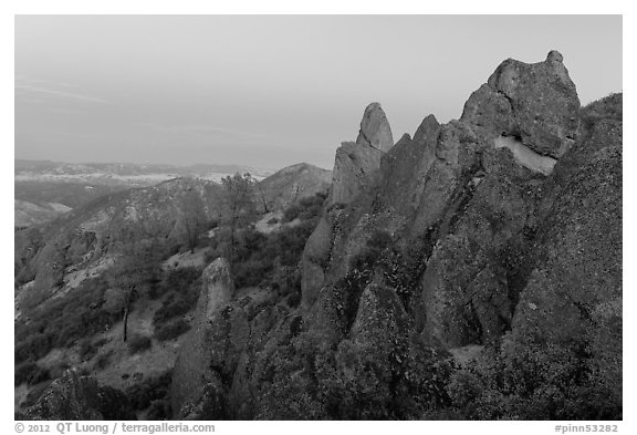 High Peaks rock crags at dusk. Pinnacles National Park (black and white)