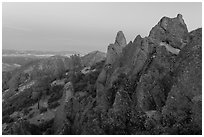 High Peaks rock crags at dusk. Pinnacles National Park, California, USA. (black and white)
