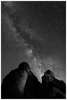 Milky Way and rocky towers. Pinnacles National Park, California, USA. (black and white)
