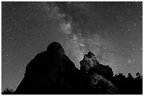 Night sky with Milky Way above High Peaks rocks. Pinnacles National Park, California, USA. (black and white)