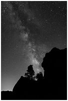 Rocks and pine trees profiled against starry sky with Milky Way. Pinnacles National Park, California, USA. (black and white)