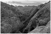 Condor Gulch, early morning. Pinnacles National Park ( black and white)