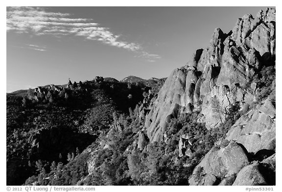Crags raising above chapparal. Pinnacles National Park (black and white)