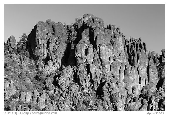 Volcanic rocks form spires and crags. Pinnacles National Park (black and white)