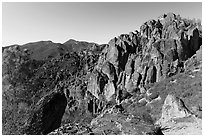 High Peaks. Pinnacles National Park, California, USA. (black and white)