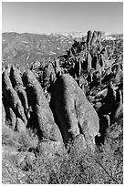 Igneous rock pinnacles and spires. Pinnacles National Park, California, USA. (black and white)