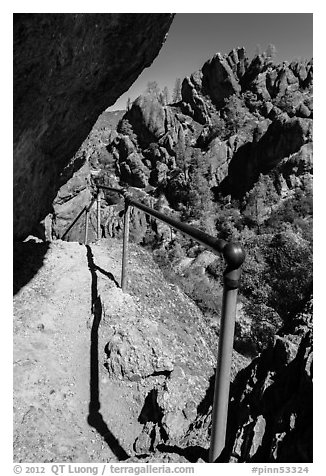 Trail on narrow ledge. Pinnacles National Park (black and white)