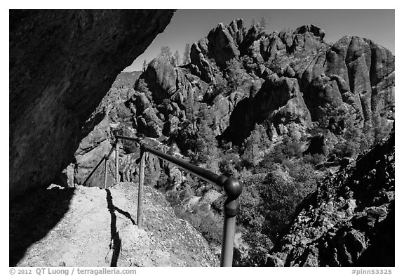Trail passing under overhanging rock. Pinnacles National Park (black and white)