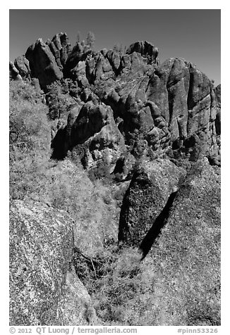 Breccia crag, High Peaks. Pinnacles National Park (black and white)