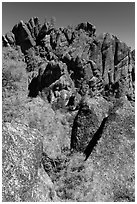 Breccia crag, High Peaks. Pinnacles National Park ( black and white)