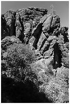 Cliffs of reddish rock. Pinnacles National Park, California, USA. (black and white)