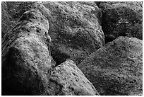 Moss-covered boulders, Bear Gulch. Pinnacles National Park, California, USA. (black and white)