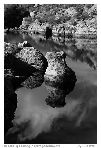 Rocks and reflections, Bear Gulch Reservoir. Pinnacles National Park (black and white)