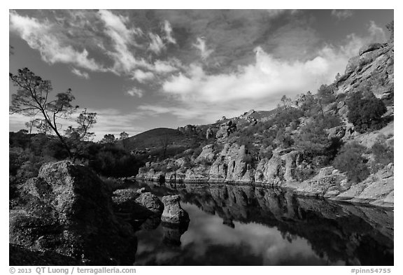 Clouds over Bear Gulch Reservoir. Pinnacles National Park (black and white)
