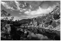 Clouds over Bear Gulch Reservoir. Pinnacles National Park, California, USA. (black and white)