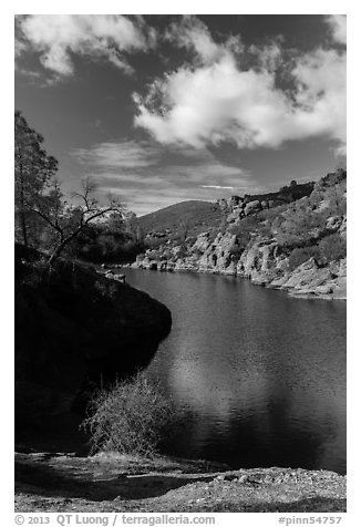 Winter, Bear Gulch Reservoir. Pinnacles National Park (black and white)