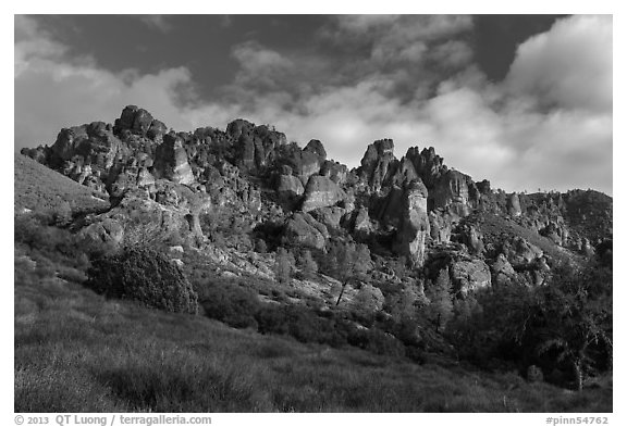 Pinnacles from West side. Pinnacles National Park (black and white)
