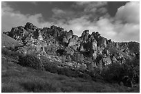 Pinnacles from West side. Pinnacles National Park, California, USA. (black and white)