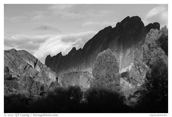 Shadows over Machete Ridge. Pinnacles National Park (black and white)