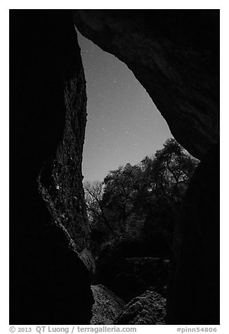 Looking out Balconies Cave at night. Pinnacles National Park (black and white)