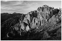 High Peaks at sunrise. Pinnacles National Park ( black and white)