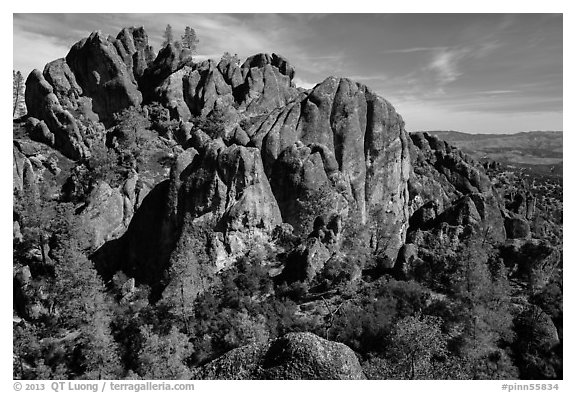 Cliffs and pinnacles. Pinnacles National Park (black and white)