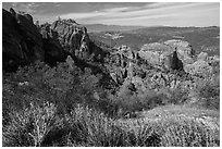 West side rock formations and spring wildflowers. Pinnacles National Park, California, USA. (black and white)