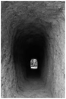 Tunnel. Pinnacles National Park, California, USA. (black and white)