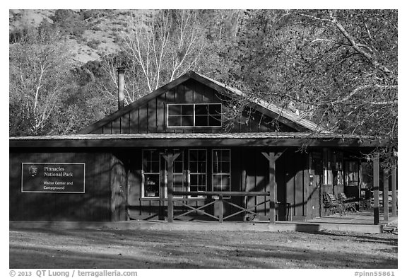 Visitor center and camp store. Pinnacles National Park (black and white)