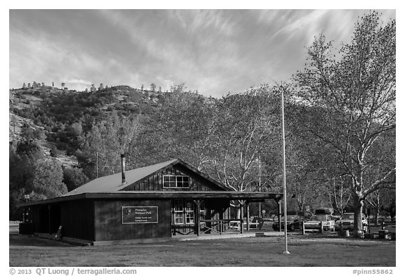 Visitor center and campground. Pinnacles National Park (black and white)