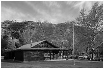 Visitor center and campground. Pinnacles National Park ( black and white)