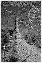 Boundary fence on steep hillside. Pinnacles National Park, California, USA. (black and white)