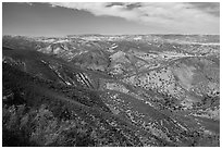 Looking towards San Andreas rift zone from Chalone Peak. Pinnacles National Park, California, USA. (black and white)