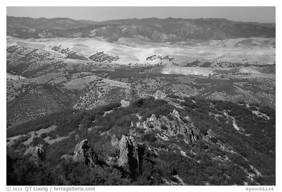 Hilly landscape seen from South Chalone Peak. Pinnacles National Park (black and white)