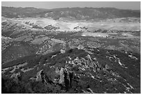 Hilly landscape seen from South Chalone Peak. Pinnacles National Park ( black and white)