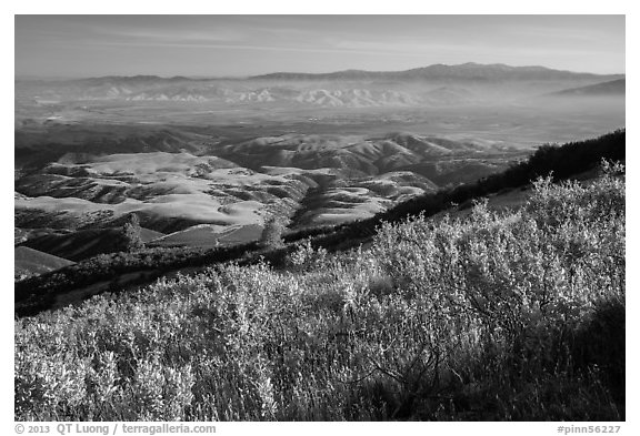 View over Salinas Valley from South Chalone Peak. Pinnacles National Park (black and white)