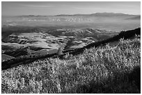 View over Salinas Valley from South Chalone Peak. Pinnacles National Park, California, USA. (black and white)
