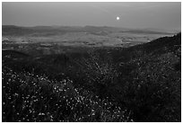 Moonrise from North Chalone Peak. Pinnacles National Park, California, USA. (black and white)