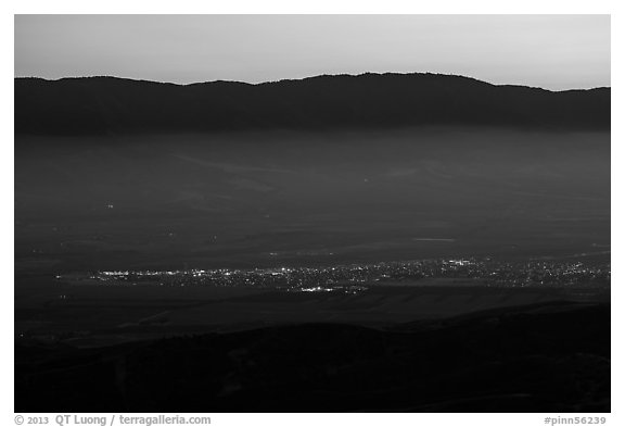 Soledad and Salinas Valley from Chalone Peak at dusk. California, USA (black and white)