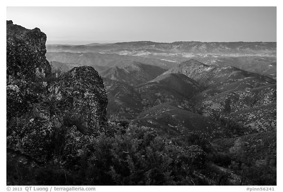 View from North Chalone Peak at dusk. Pinnacles National Park (black and white)