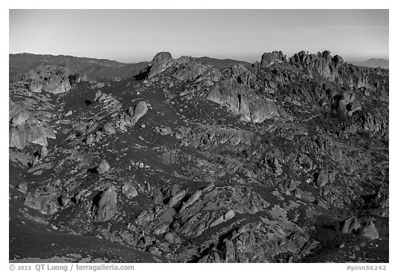 High Peaks from North Chalone Peak under moonlight. Pinnacles National Park (black and white)