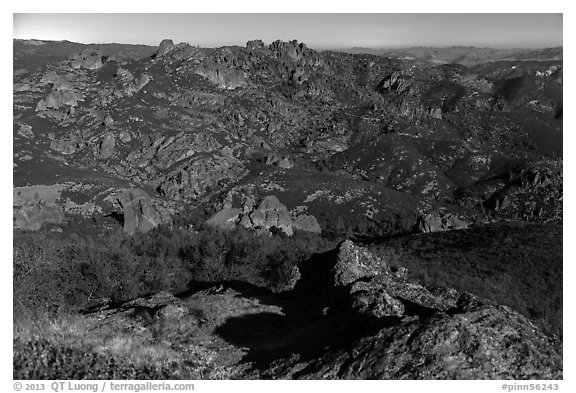 Moonlit view with High Peaks. Pinnacles National Park (black and white)