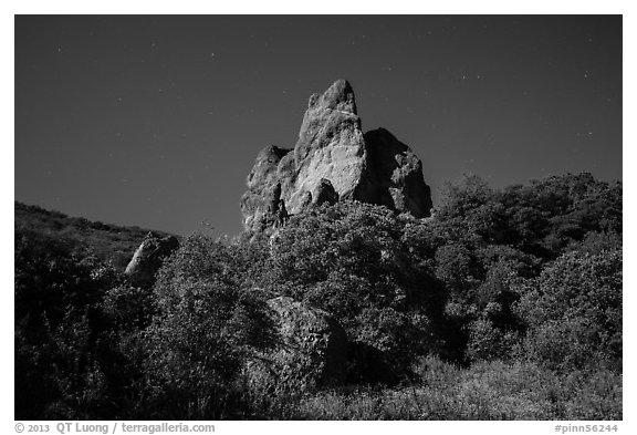 Pinnacle and stars on full moon night. Pinnacles National Park (black and white)
