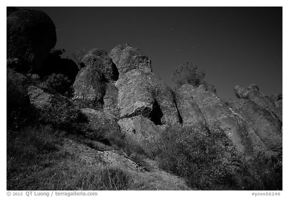 Looking up rock towers and starry night sky. Pinnacles National Park (black and white)