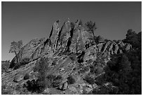 Rock pinnacles by lit by full moon. Pinnacles National Park, California, USA. (black and white)