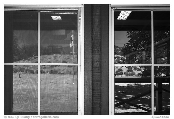 Chaparal hills, East entrance visitor center window reflexion. Pinnacles National Park (black and white)