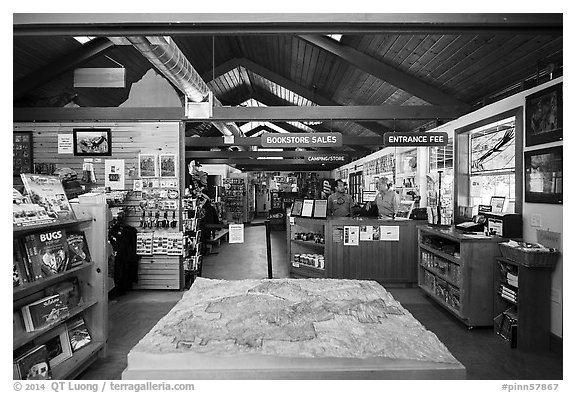 Inside Pinnacles Visitor Center and camping store. Pinnacles National Park (black and white)
