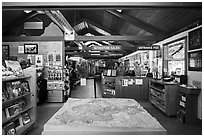 Inside Pinnacles Visitor Center and camping store. Pinnacles National Park ( black and white)